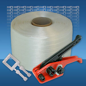 Textil Umreifungsband Sparset 13 mm Kraftband Klemmen Spanngerät Umreifungsgerät