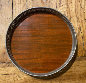 """Vintage Revere Pewter with Formica Wood Surface Serving Tray 10.25"""""""
