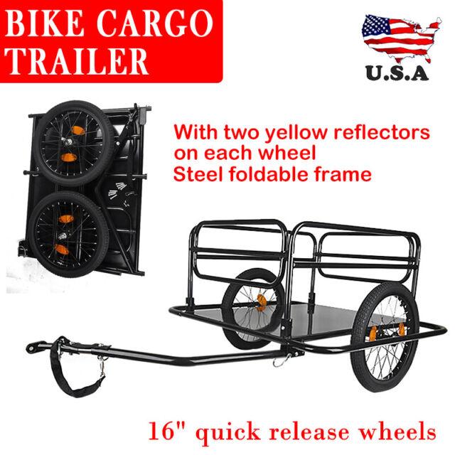 Black Steel Frame Bicycle Bike Cargo Trailer Luggage Cart Carrier 100KG Hauler