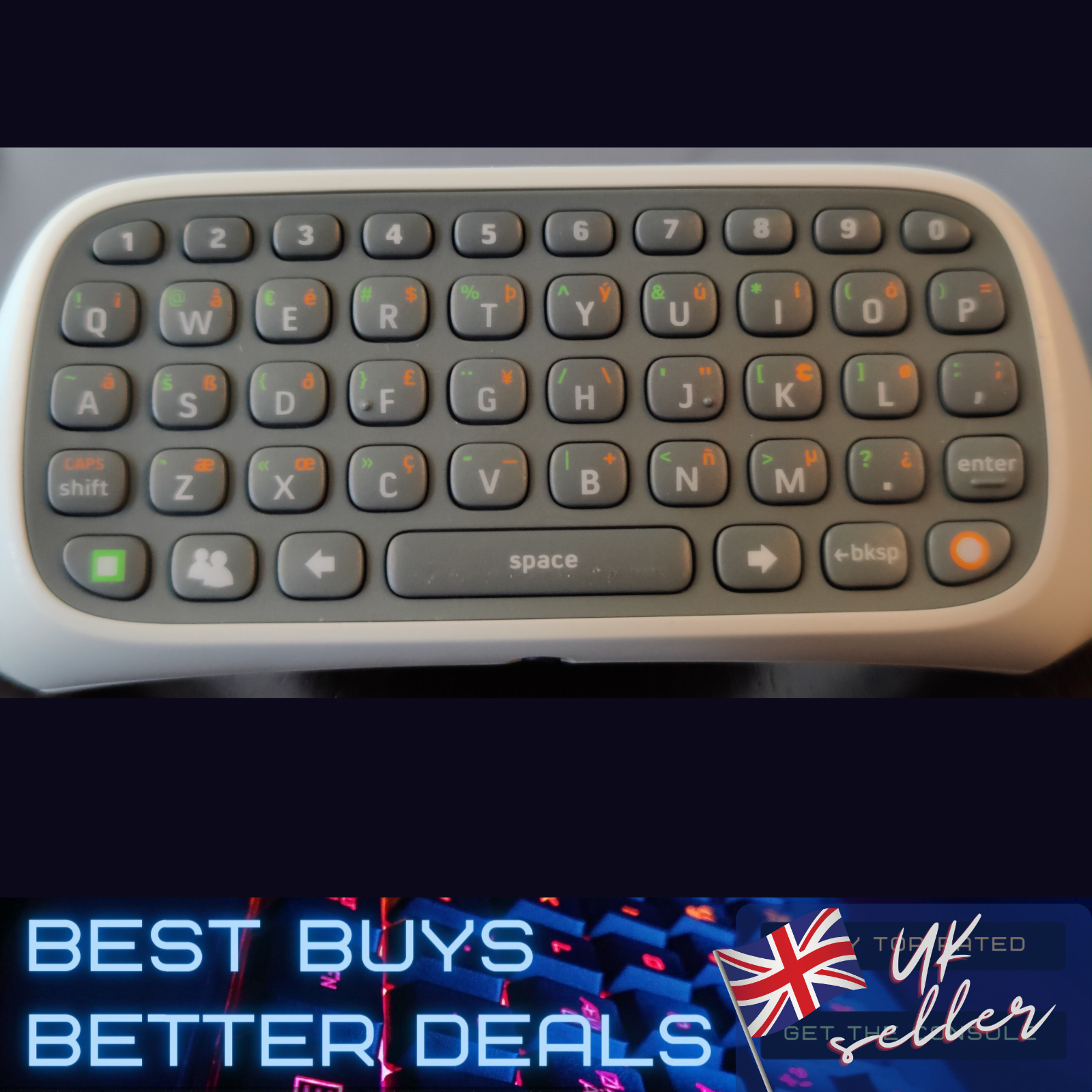 Official XBOX 360 Wireless Controller Messenger Game Keyboard Chatpad Keypad VGC