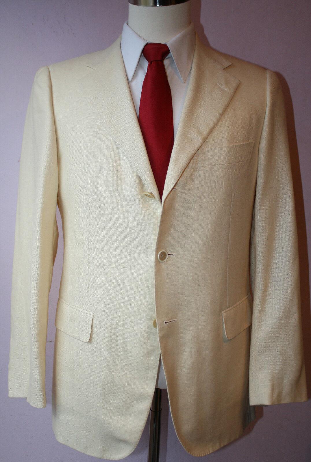 Caruso for Ungaro White Wool Silk Linen Three Button Side Vented Sport Coat 39 R