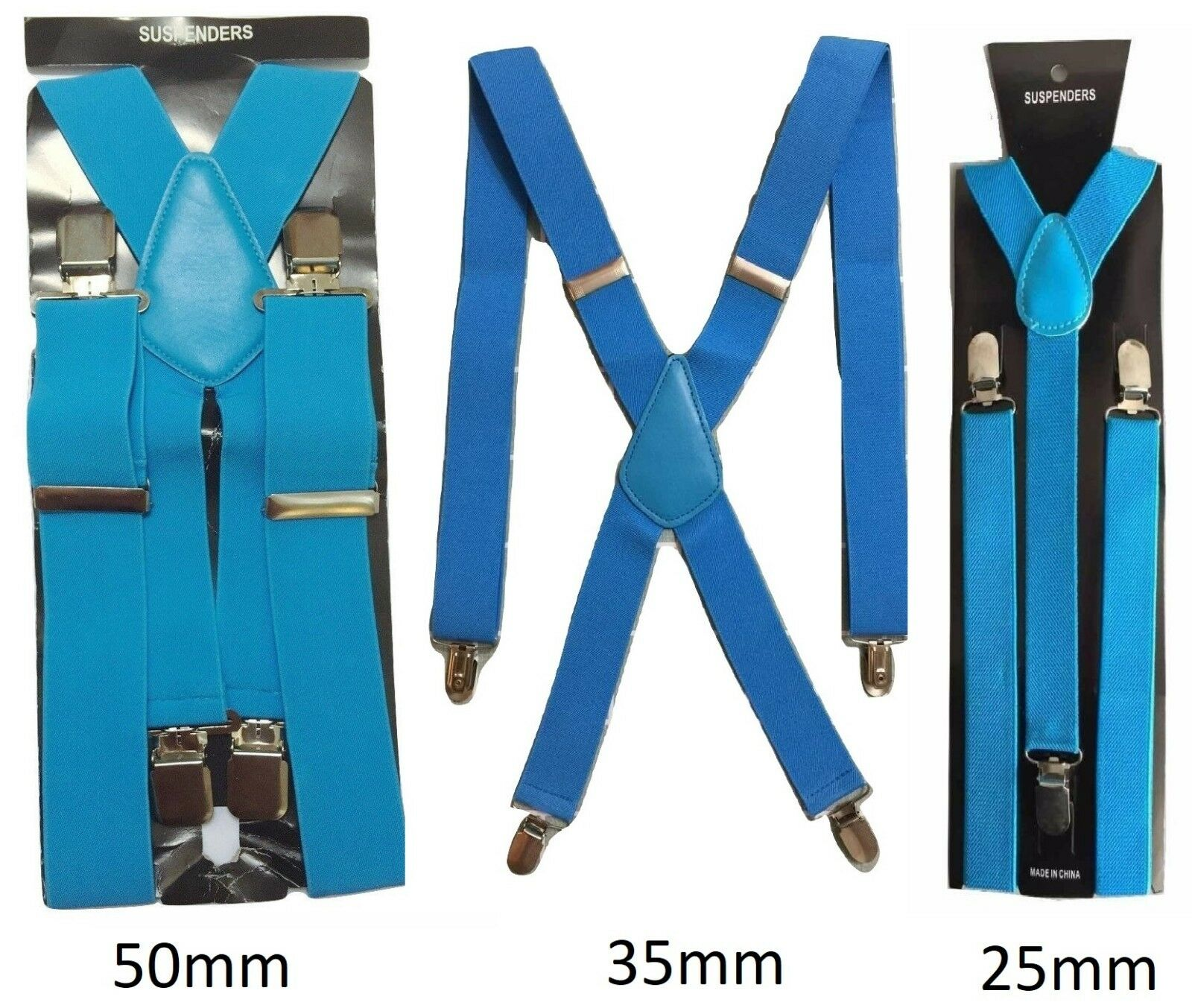 Sky Blue Mens Womens Suspenders Elastic Durable Strong 25mm 35mm 50mm