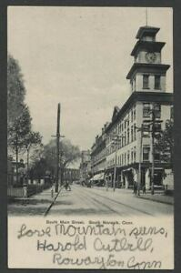 South-Norwalk-CT-c-1905-06-Postcard-SOUTH-MAIN-STREET-Clock-Tower-on-Building