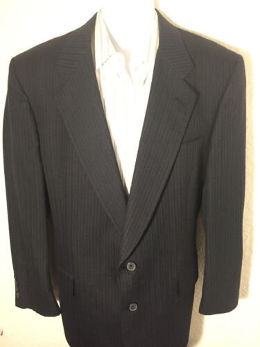 CHRISTIAN DIOR Black Pinstrip Suit 44L