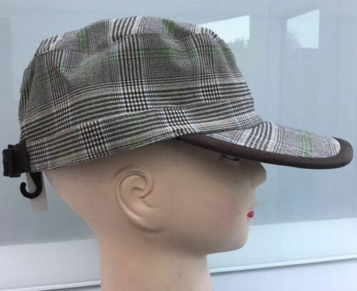 Ladies trendy cadet baseball cap hat Brown check NEW top Fashion /& fancy Dress