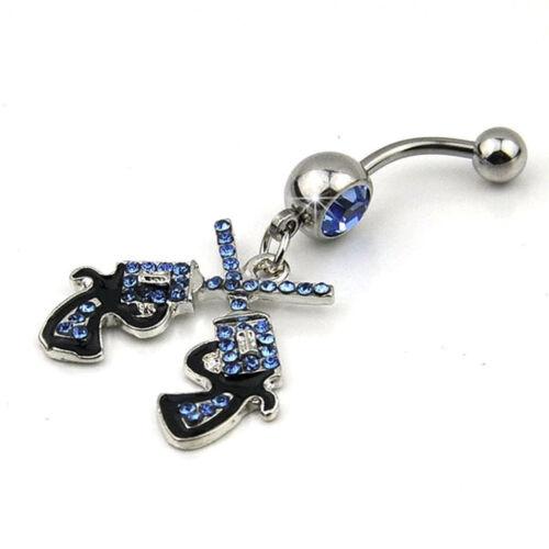 Cowgirl Revolver Pistol Gun Dangle Belly Button Navel Ring Body Jewelry BEN/_fd
