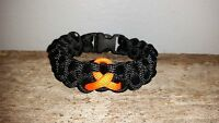 Leukemia Kidney Cancer Awareness 550 Paracord Survival Bracelet Orange Ribbon Ms