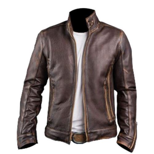 en Veste cuir vieilli Mens Cafe Brown Biker Stylish Racer 1Z1Pq