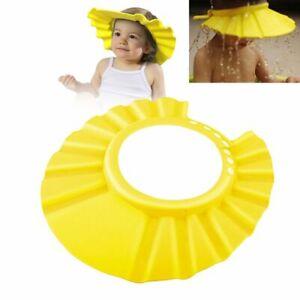 Yellow Adjustable Baby Kids Shampoo Bathing Shower Cap Hat Wash Hair Shield EVA