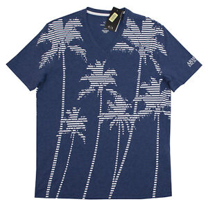 ARMANI-EXCHANGE-MEN-039-S-S-M-L-XL-REGULAR-FIT-V-NECK-SHIRTS-BLUE-WHITE-PALM-TREES