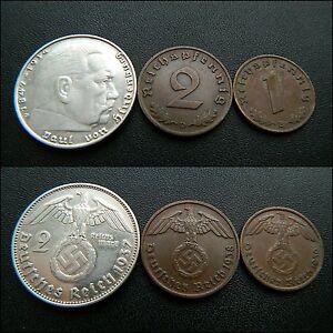 Original-Set-of-German-coins-2-Reichsmark-1-2-pfennig-with-Swastika-43
