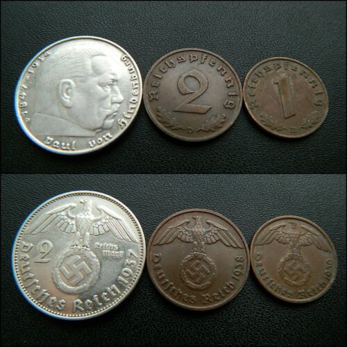 1 Original Set of German coins: 2 Reichsmark 2 pfennig with Swastika S3