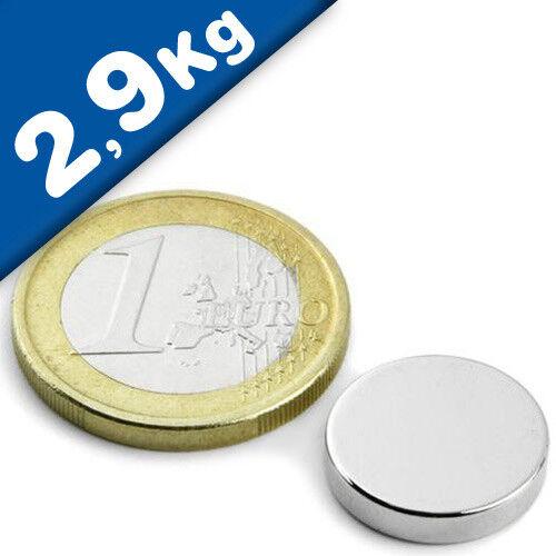 Neodym N45 10 x Scheibenmagnet Rundmagnet  Ø 15x 3mm Nickel Haftkraft 2,9kg