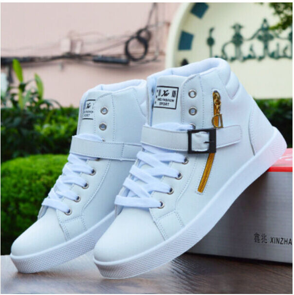 Fashion Mens Sneakers Hidden Wedge Round Toe HighTOP Lace Up Casual shoes Size