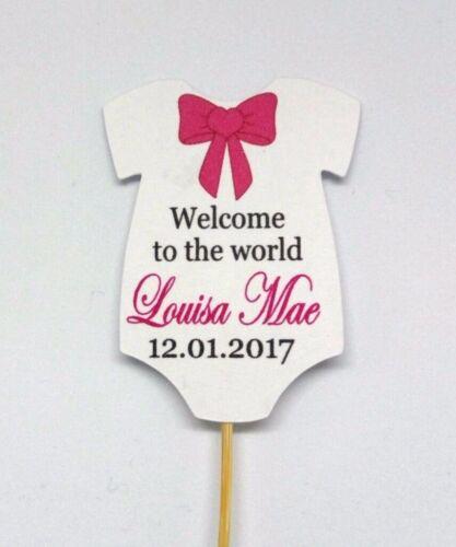 15x Personnalisé Cupcake Topper Baptême Baby Shower Cupcake Topper
