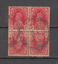 British India GVI Tetebeche  Used Block of 4 Stamps