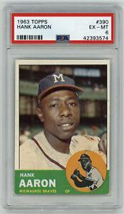 1963 BRAVES Hank Aaron card Topps #390 PSA 6 EX-MT Milwaukee vintage High End