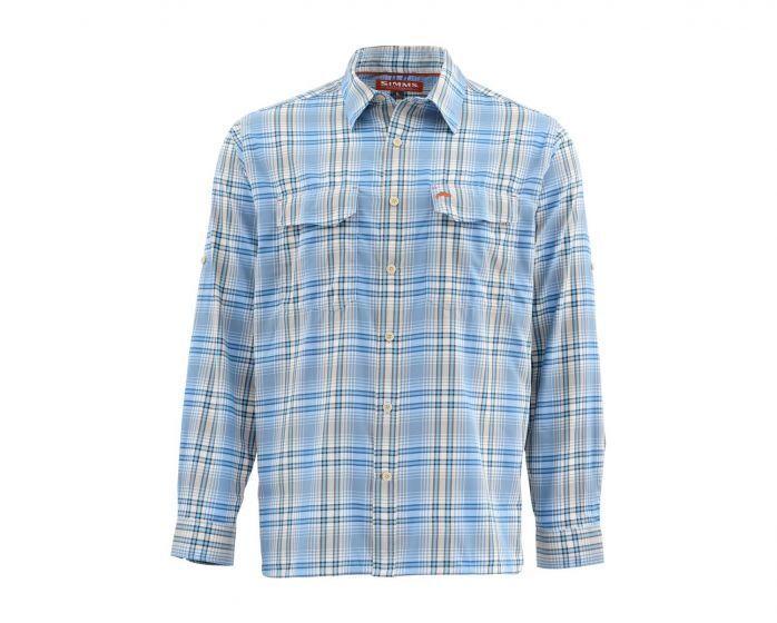 Simms Legend Long Sleeve Shirt-Harbor bluee Plaid - Size Large - Closeout