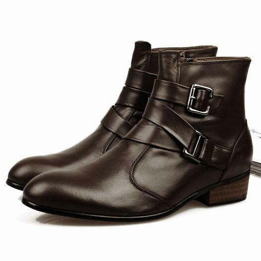 Uomo casual shoes Buckle strap Pointy toe leather chukka cowboy ankle boots new