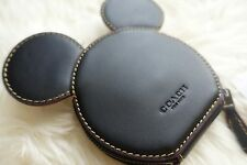 NEW Disney X Coach Limited Mickey Mouse Ears Zip Coin Purse -Black Leather 2017