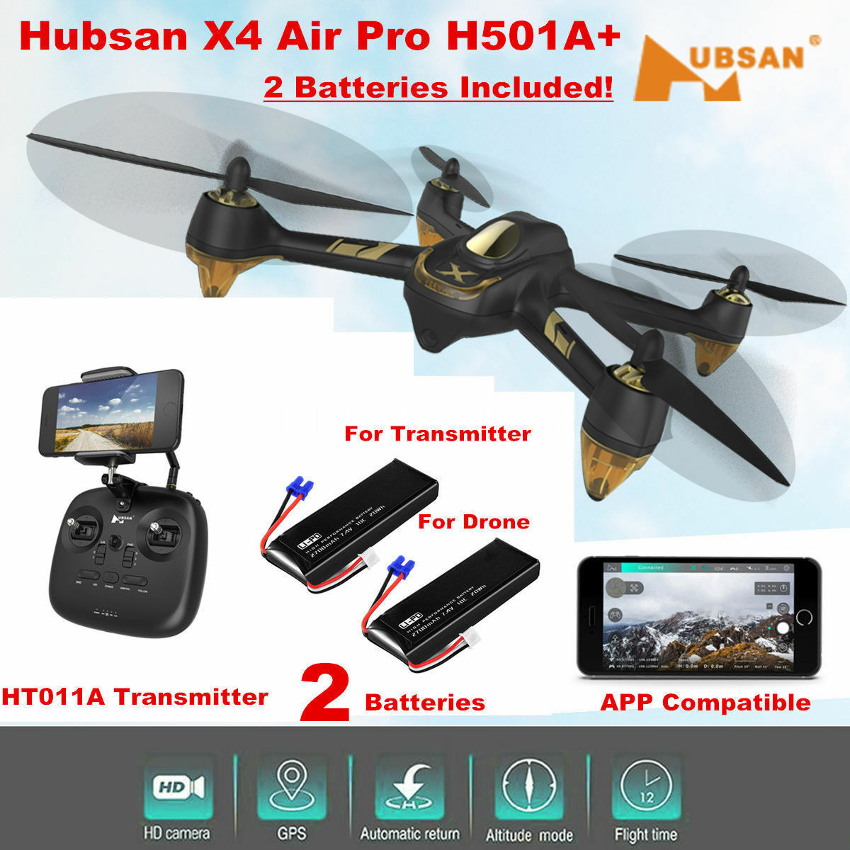 Hubsan H501A+ X4 PRO FPV Drone W  APP Brushless  1080P Waypoint Follow Me RTH GPS  100% autentico