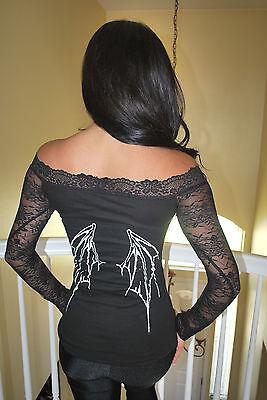 Diy Bat Wings Top Shirt Gothic Metal Rock Horror Lace Vampire Xs Xl Ebay