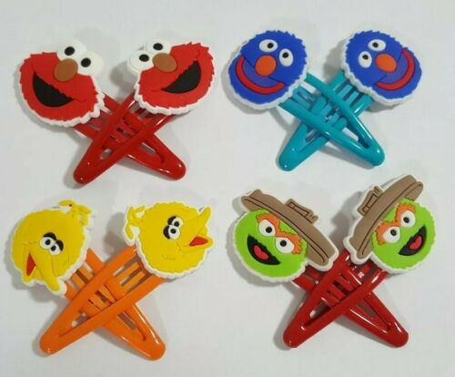 Grover Elmo Sesame Street Hair Clip 8pc Set Barrettes Oscar Big Bird