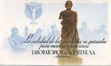 Año 1950/60. Barcelona. Papel secante publicidad Laboratorios Dr. Esteve, S.A.