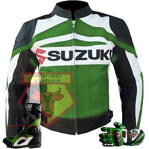 SUZUKI-GSX-GREEN-MOTORBIKE-BIKER-ARMOURED-COWHIDE-LEATHER-JACKET-GLOVES-amp-BOOTS
