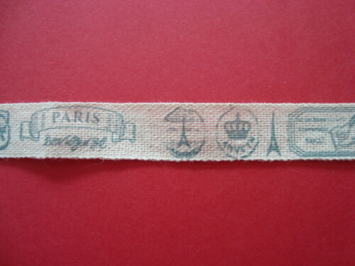 SHABBY CHIC VINTAGE STYLE PARIS COTTON FABRIC RIBBON 15 MM X 2.5 M ALL CRAFTS