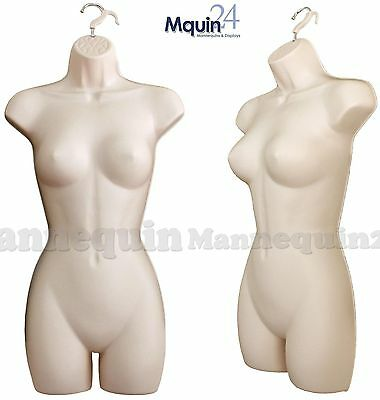 1 Flesh Female Mannequin Body Form w/ Hook for Hanging, Woman's Clothing Display