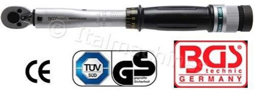"""CHIAVE DINAMOMETRICA 1//4/"""" AUTO MOTO BGS TECHNIC 6-30 Nm REGOLABILE CERTIFICATA"""