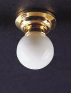 12 Volt Dollhouse Lighting White Ceiling Fixture Globe Lamp 1:12 Scale Miniature