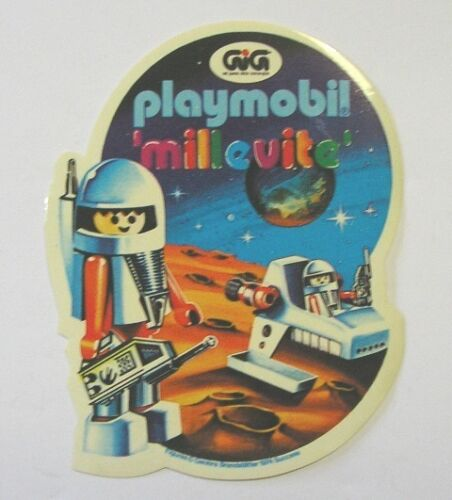 ADESIVO anni '80 / Old Sticker GIG PLAYMOBIL MILLEVITE ASTRONAUTA (cm 8 x 10)