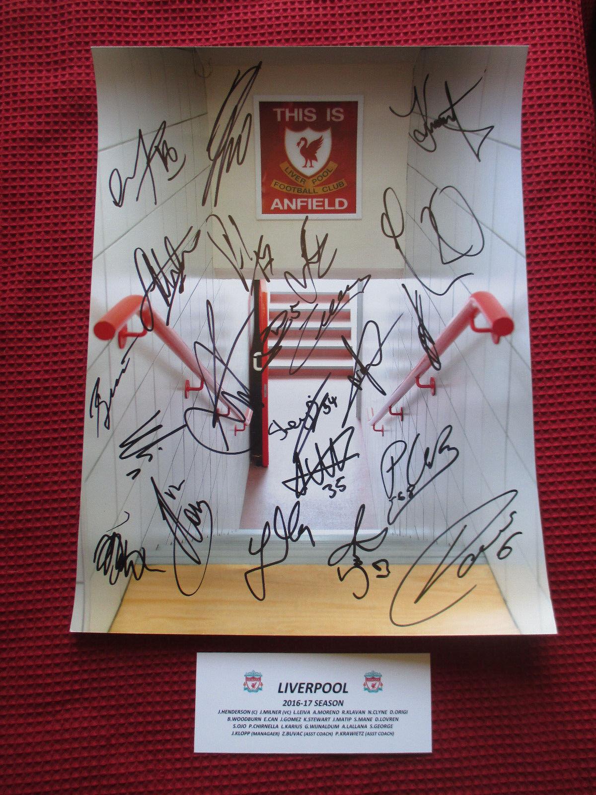 Liverpool Temporada 2016-17  23  mano firmado exhibición de fotos de 12  X 16  - a prueba de exacta