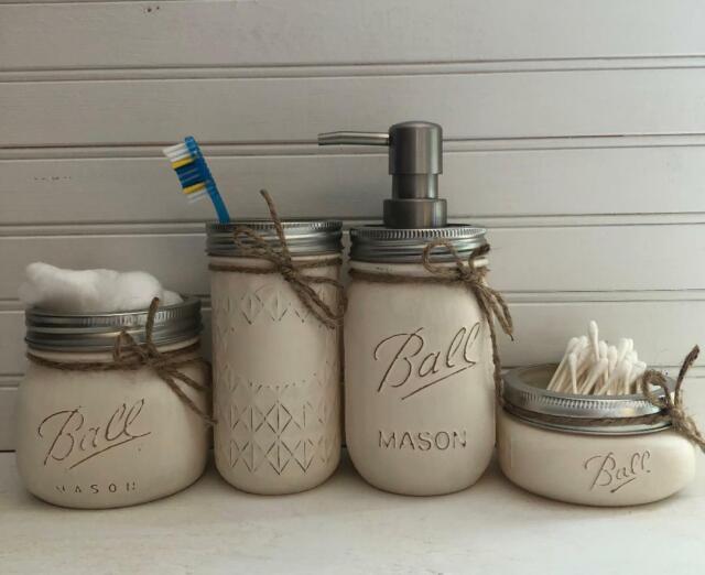 4 PIECE RUSTIC MASON JAR BATHROOM SET