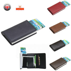 Auto-Credit-Card-Holder-Leather-RFID-Blocking-Small-Metal-Wallet-Money-Clip-UK