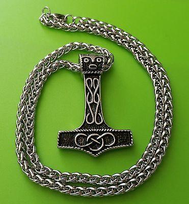 Stainless Steel Viking Mjölnir Thor's Hammer Pendant Necklace on chain