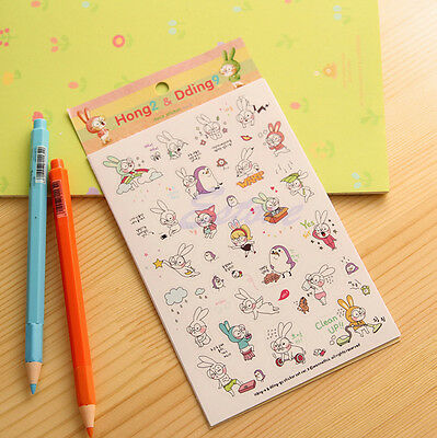 6 Sheets  Book Sticker Rabbit Diary Scrapbook Calendar Notebook Label Decoration