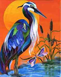 BLUE-HERON-with-Dragonfly-8X10-BIRD-Print-from-Artist-Sherry-Shipley