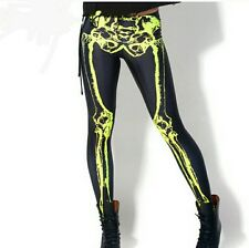 b5a89581e18fd Digital Print Women Black Skelton Leggings Stretchy Full Length Pants UK  STOCK