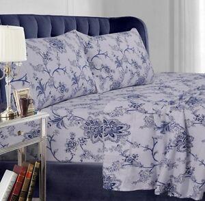 king size sheet set 24 inch deep pocket blue floral 4 pc. Black Bedroom Furniture Sets. Home Design Ideas