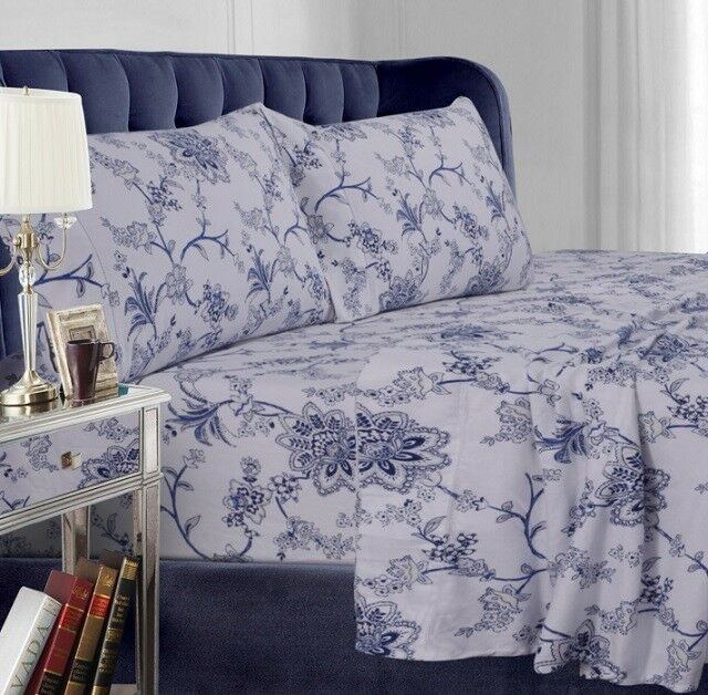 King Size Sheet Set 24 Inch Deep Pocket Blue Fl 4 Pc 100 Cotton Flannel
