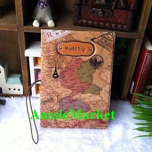1-x-passport-holder-wallet-cover-case-travel-organizer-world-map-money-vinyl-new