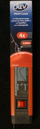 REV Steckdosenleiste mit Schalter 4fach Schwarz//Rot  mit Netzfilter 2,60m Zuleit