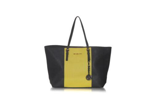 MICHAEL KORS Tote Bag Black Lime Green Shoulder Pu