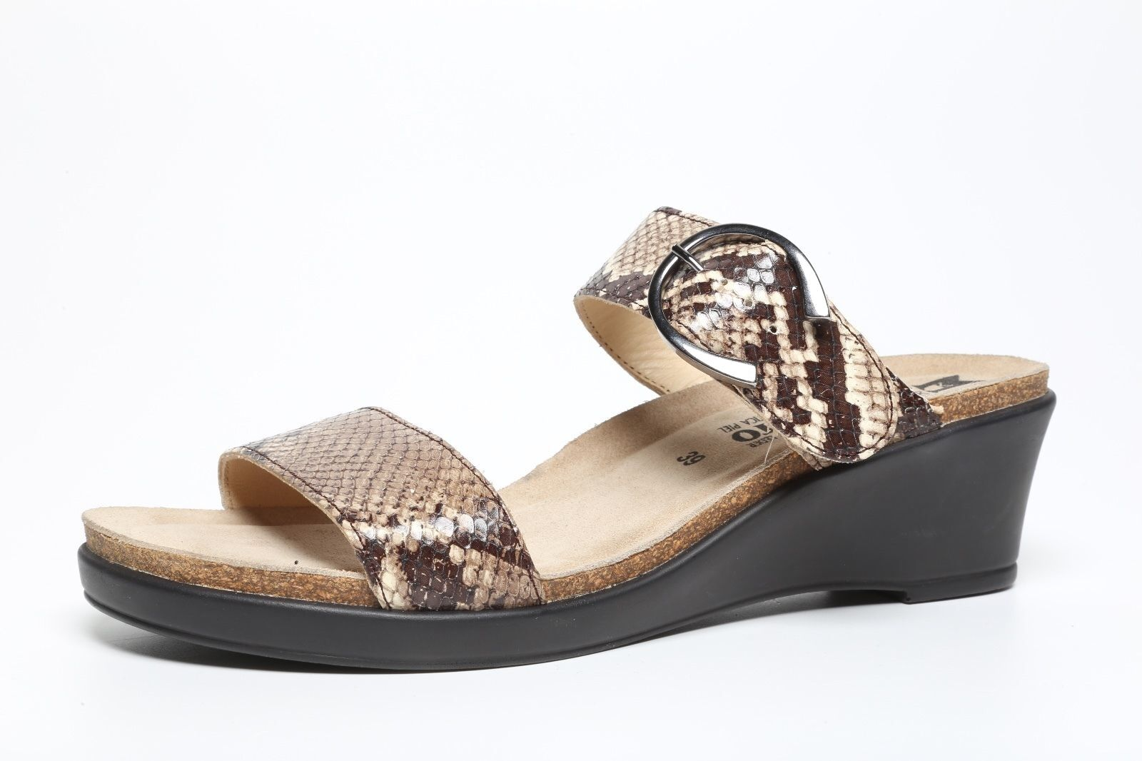 Mephisto femmes Air Relax Snake Print Leather Wedge Slide Sandals 2844 Sz 39 EUR