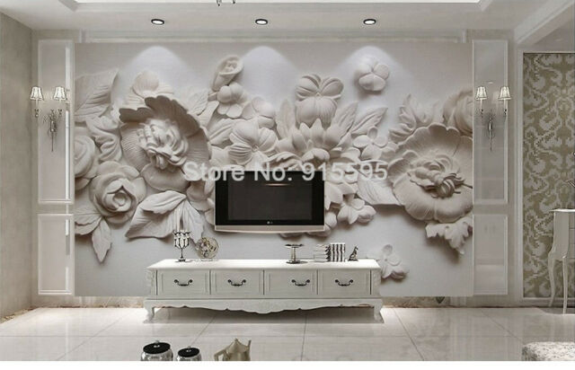 3d Wallpaper Mural Sitting Room The Bedroom Tv Background Embossed Flowers For Sale Online Ebay