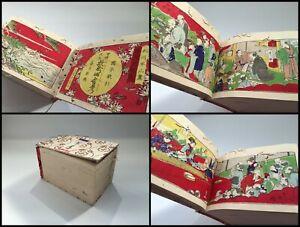 Japanese-1883s-Meiji-Ukiyoe-Woodblock-Print-Book-Vtg-Kimono-Woman-Junk-R152