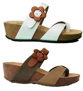 scarpe esclusive prezzi incredibili stili freschi Dettagli su BIONATURA 28 A 729 S IMB sandali donna zeppa ciabatte infradito  camoscio nabuk